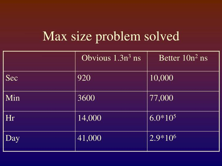 Max size problem solved