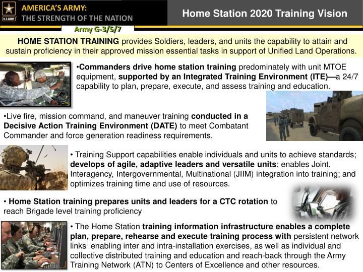 Home Station 2020 Training Vision