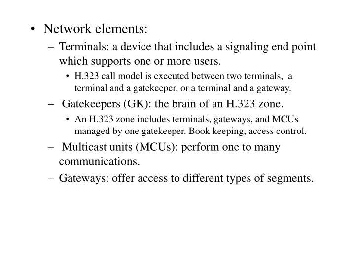 Network elements: