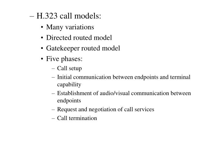 H.323 call models: