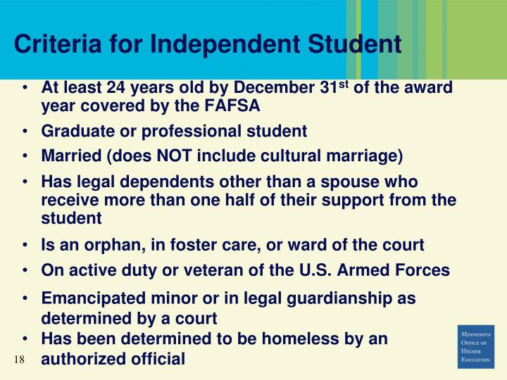 Criteria for Independent Student