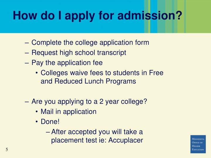 How do I apply for admission?