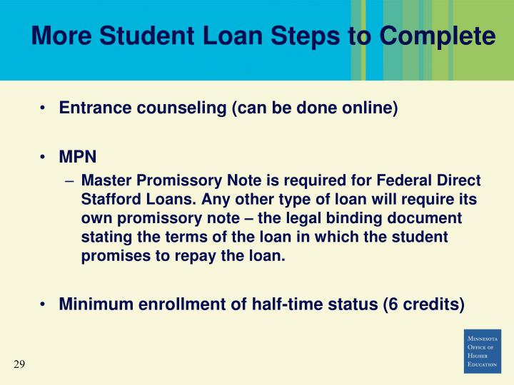 More Student Loan Steps to Complete