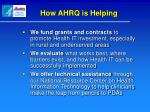 how ahrq is helping
