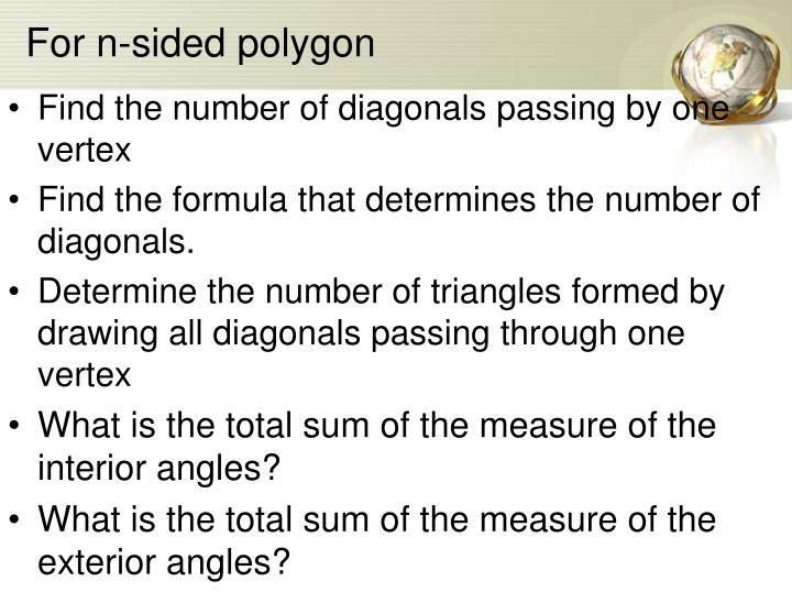 For n-sided polygon