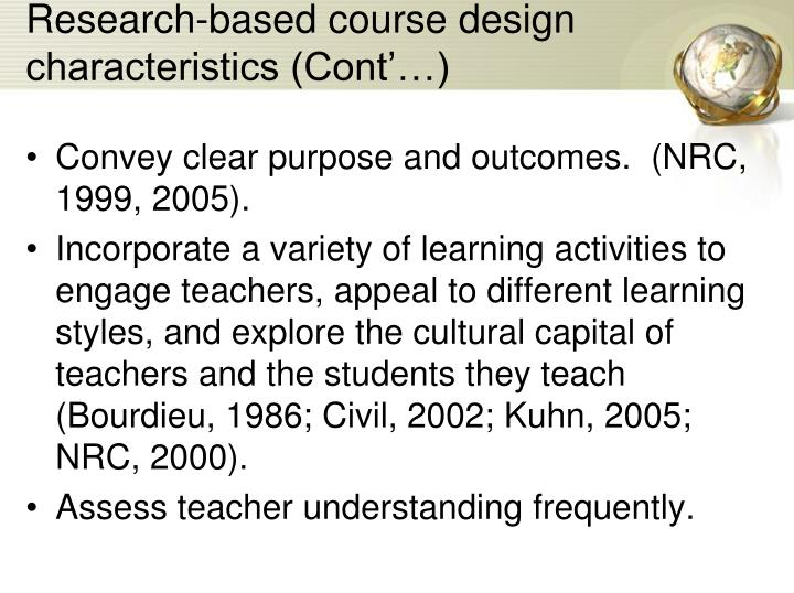 Research-based course design characteristics (Cont'…)
