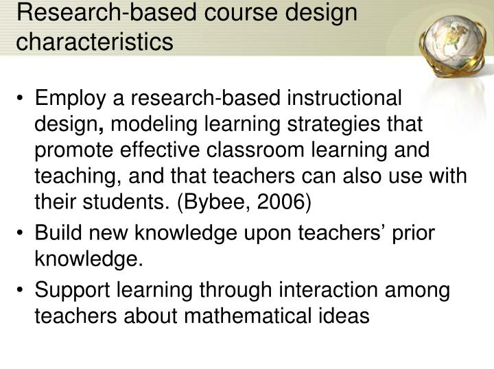Research-based course design characteristics