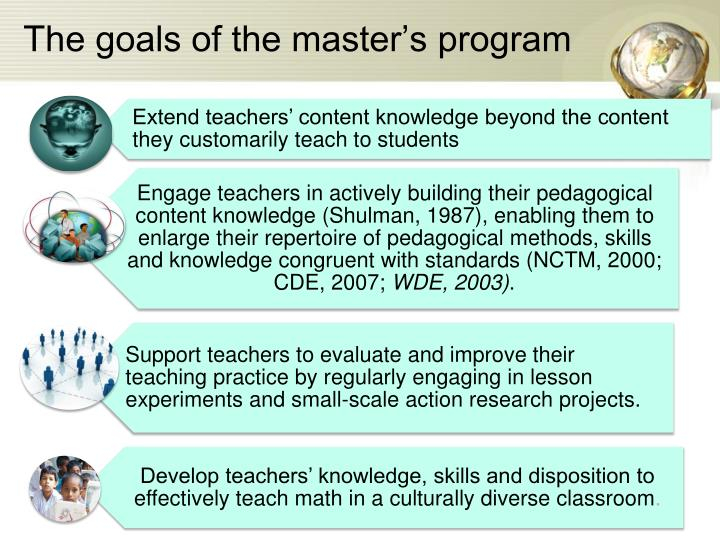 The goals of the master's program