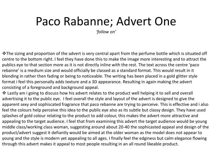 Paco rabanne advert one follow on