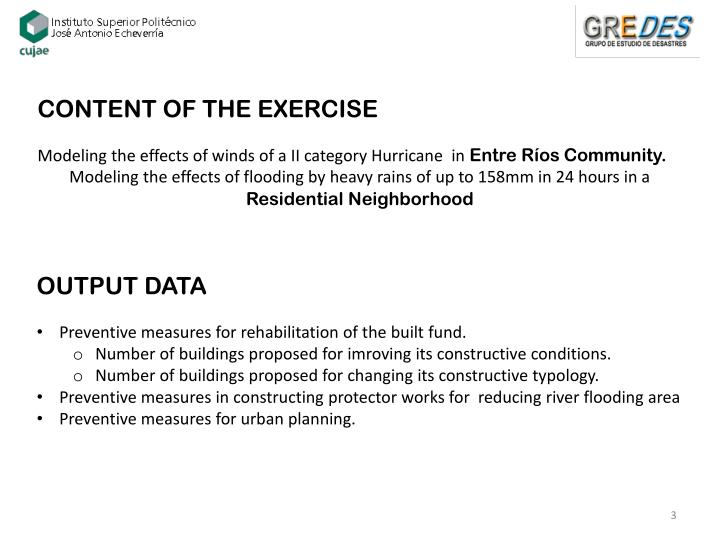CONTENT OF THE EXERCISE