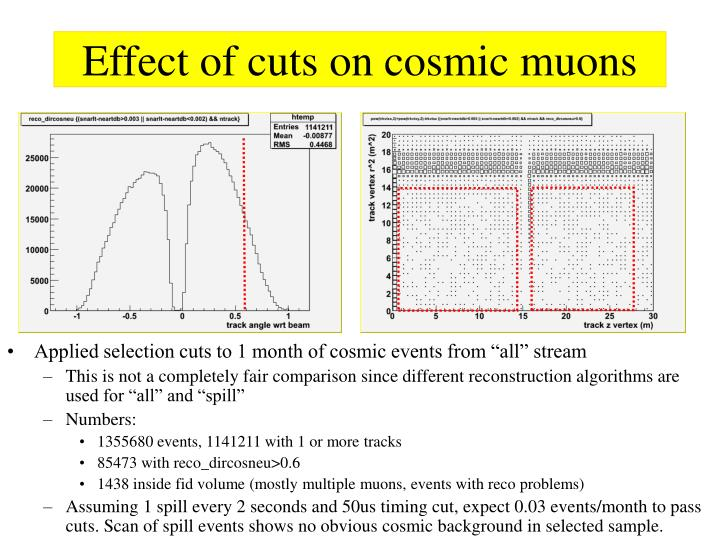 Effect of cuts on cosmic muons