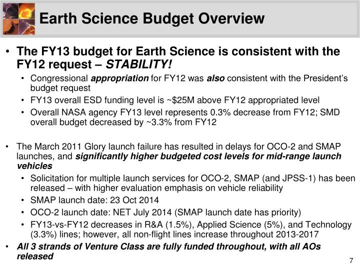 Earth Science Budget Overview