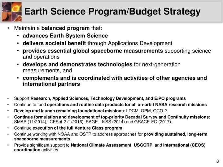 Earth Science Program/Budget Strategy