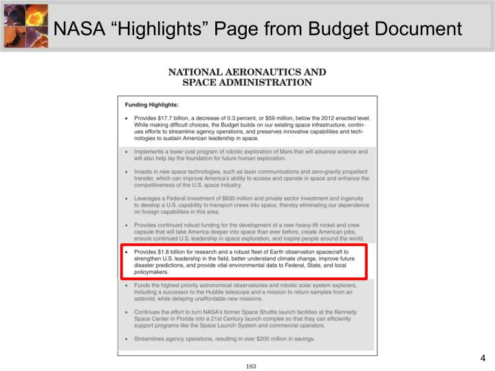 "NASA ""Highlights"" Page from Budget Document"