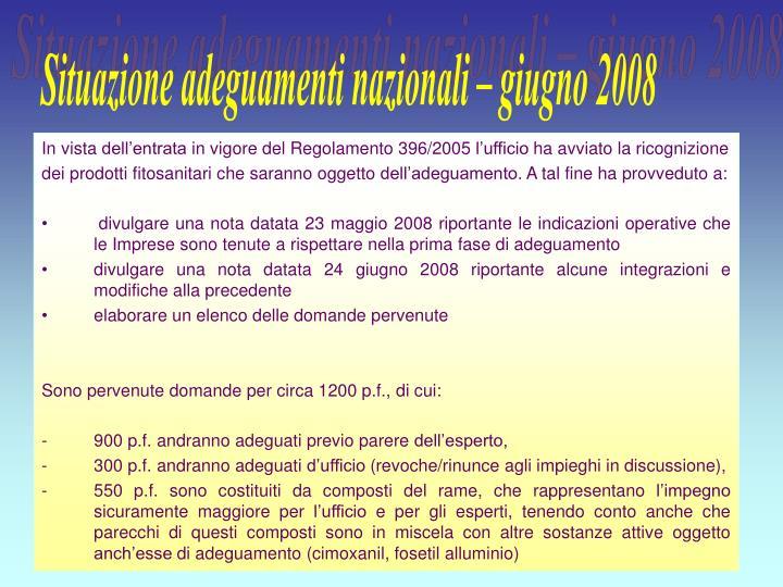 Situazione adeguamenti nazionali – giugno 2008