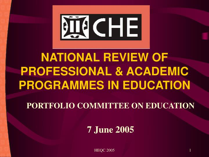national review of professional academic programmes in education n.