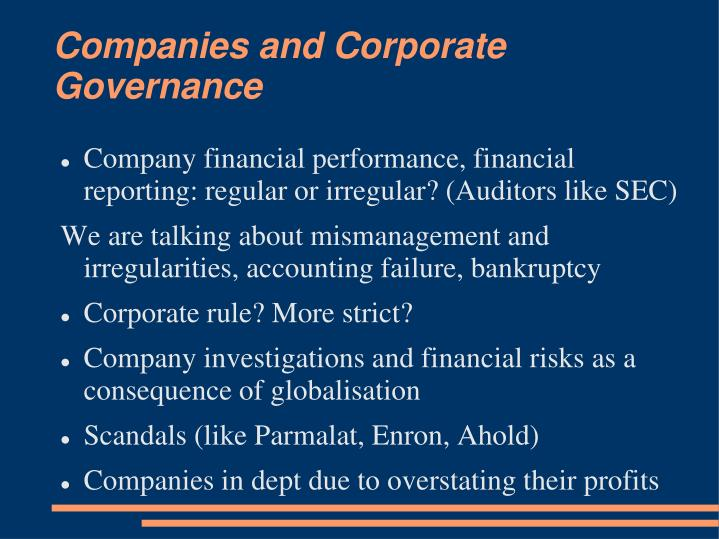 Companies and Corporate Governance