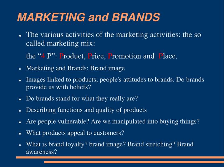 MARKETING and BRANDS