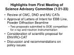 highlights from first meeting of science advisory committee 1 21 23