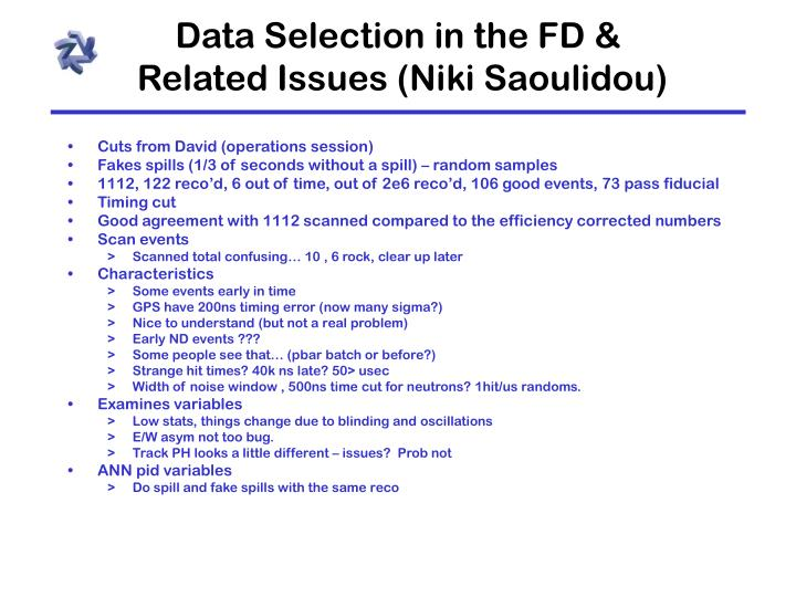 Data Selection in the FD &