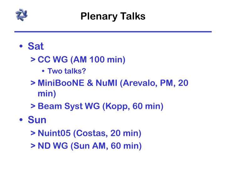 Plenary talks