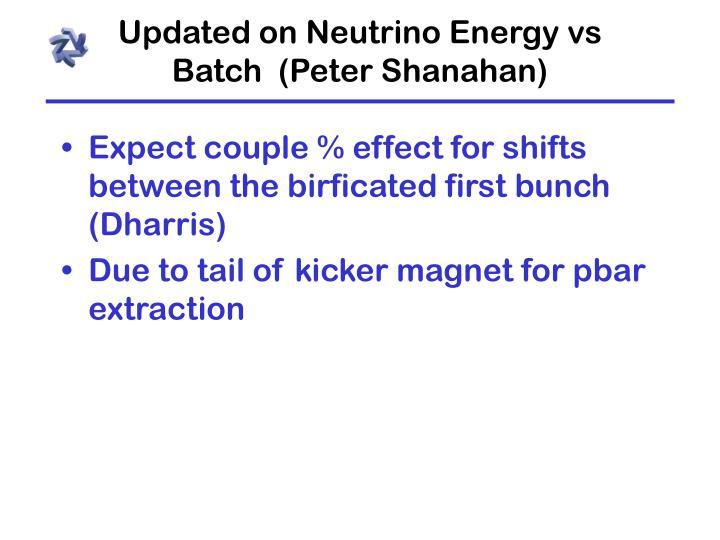 Updated on Neutrino Energy vs Batch (Peter Shanahan)