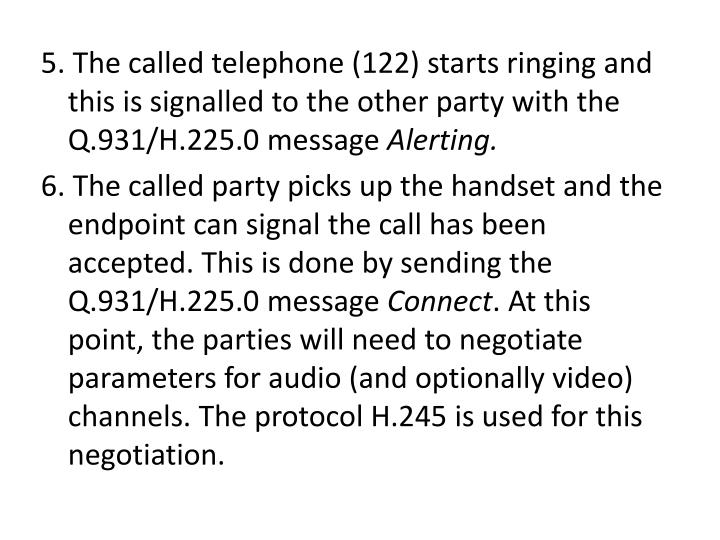 5. The called telephone (122) starts ringing and this is signalled to the other party with the Q.931/H.225.0 message