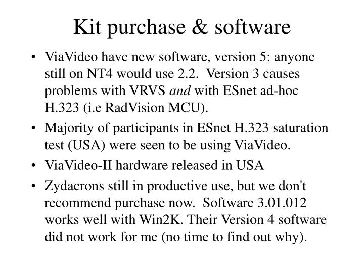 Kit purchase & software