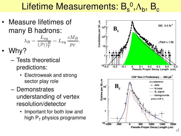 Lifetime Measurements: B
