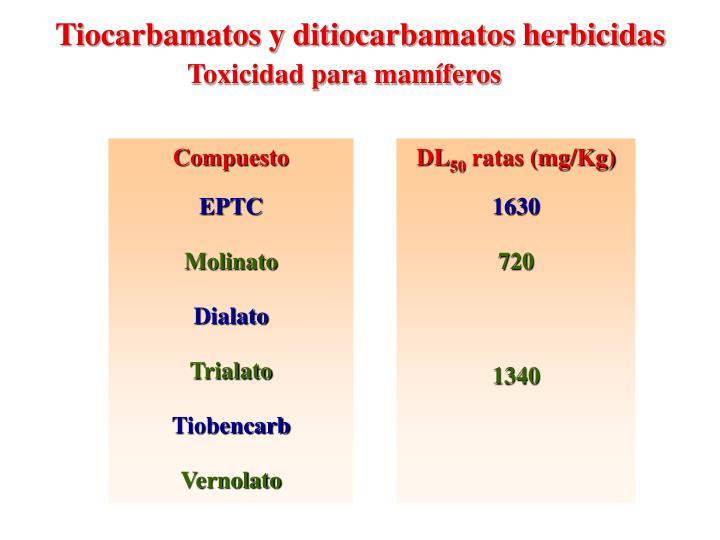 Tiocarbamatos y ditiocarbamatos herbicidas