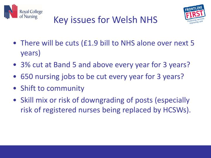 Key issues for Welsh NHS