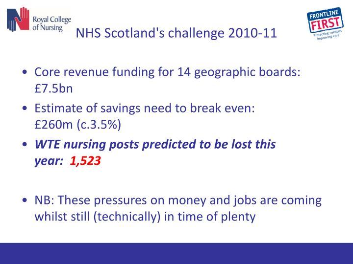 NHS Scotland's challenge 2010-11