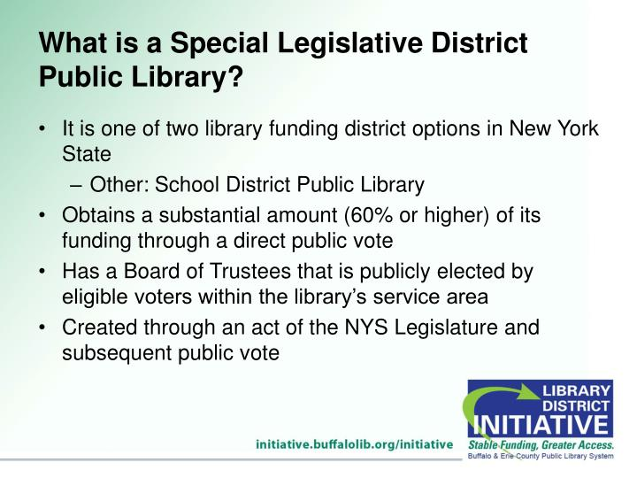 What is a Special Legislative District Public Library?