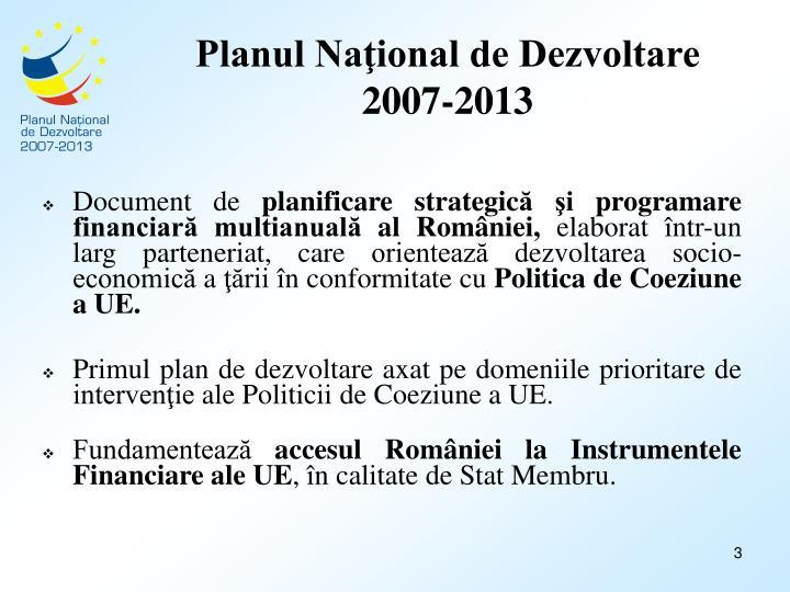 Planul na ional de dezvoltare 2007 2013