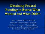 obtaining federal funding in burns what worked and what didn t