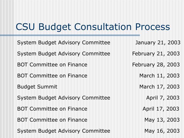 CSU Budget Consultation Process