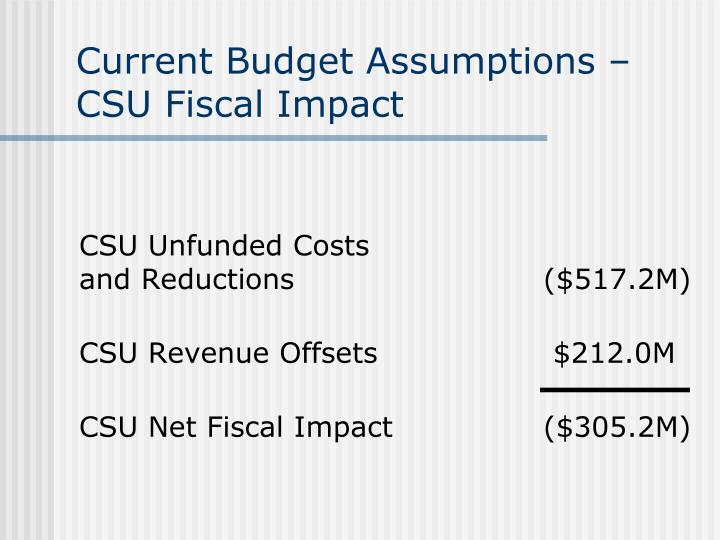 Current Budget Assumptions – CSU Fiscal Impact