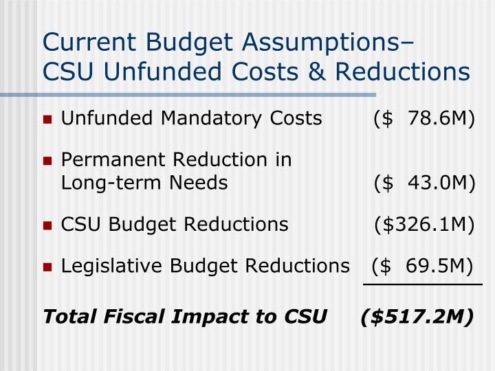 Current Budget Assumptions–