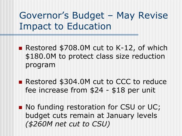 Governor's Budget – May Revise