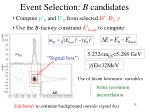 event selection b candidates