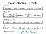 event selection i tracks