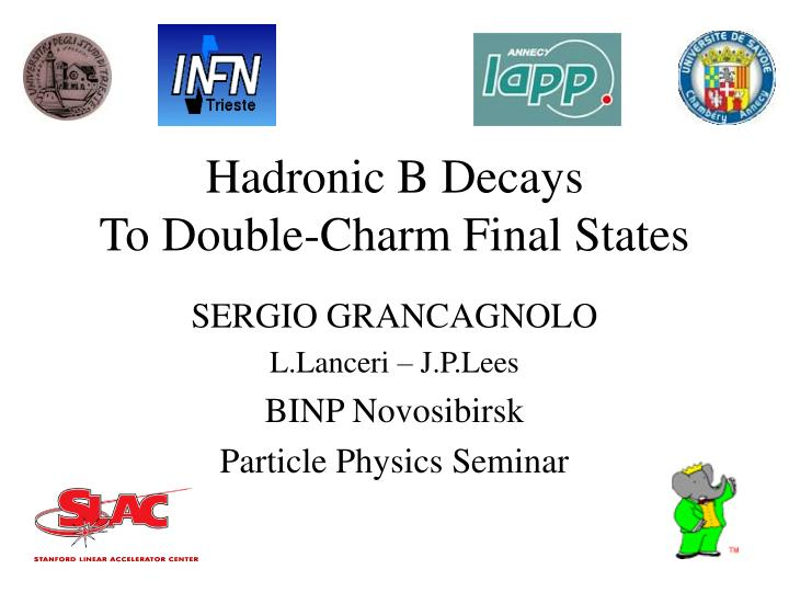hadronic b decays to double charm final states