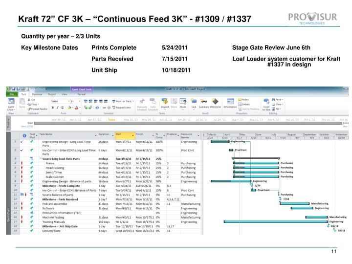 "Kraft 72"" CF 3K – ""Continuous Feed 3K"" - #1309 / #1337"