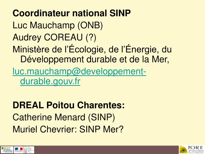 Coordinateur national SINP