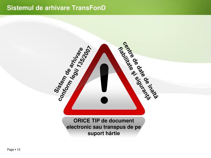 Sistemul de arhivare TransFonD