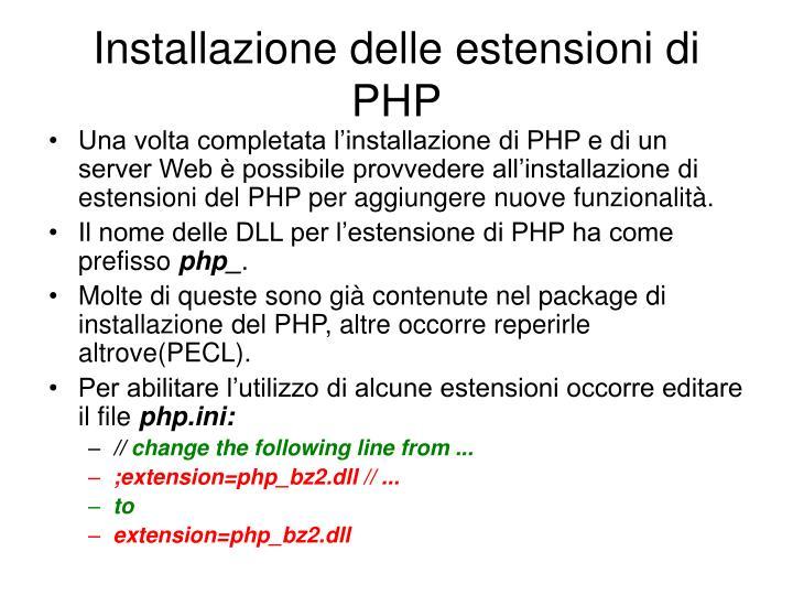 Installazione delle estensioni di PHP