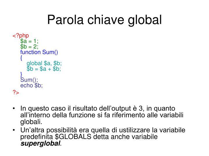 Parola chiave global