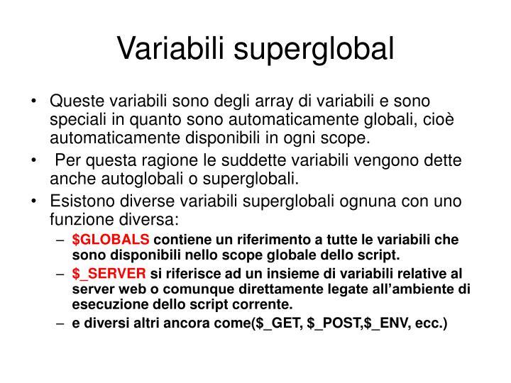 Variabili superglobal