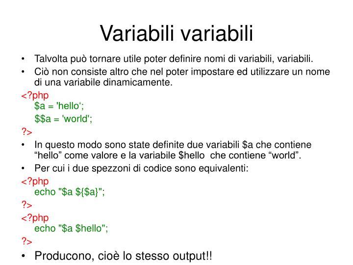 Variabili variabili