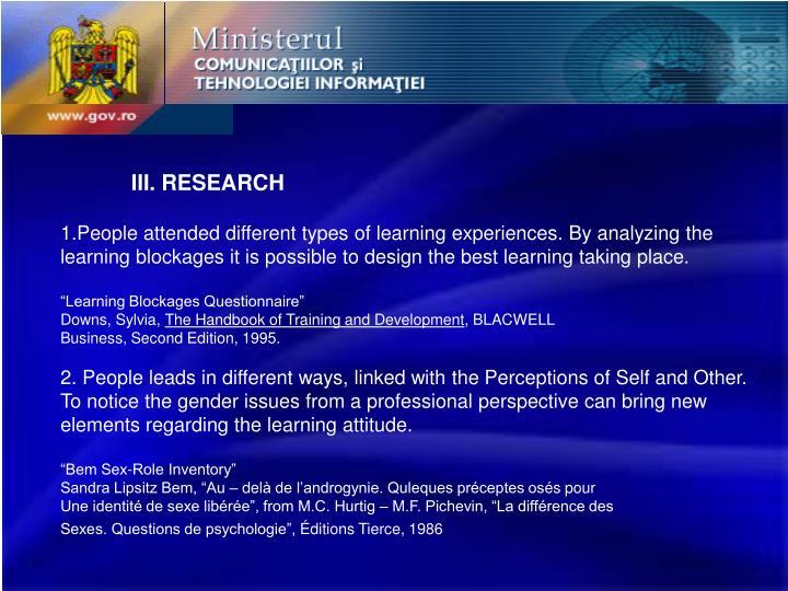 III. RESEARCH